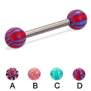 Titanium straight barbell with acrylic checkered balls, 12 ga