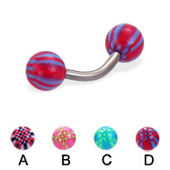 Titanium curved barbell with acrylic checkered balls, 14 ga