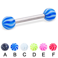 Straight barbell with tornado balls, 12 ga