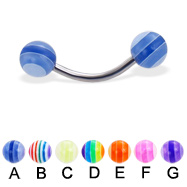 Curved barbell with acrylic layered balls, 16 ga