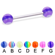 Straight barbell with acrylic layered balls, 16 ga