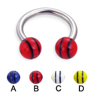 Circular barbell with double striped balls, 12 ga