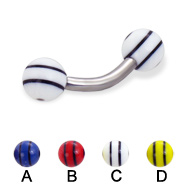 Curved barbell with double striped balls, 12 ga