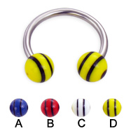 Circular barbell with double striped balls, 14 ga
