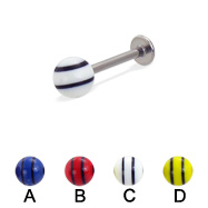 Labret with double striped ball, 16 ga