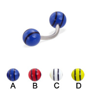 Curved barbell with double striped balls, 16 ga
