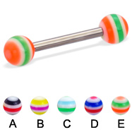 Titanium straight barbell with circle balls, 12 ga