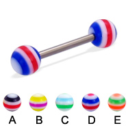 Titanium straight barbell with circle balls, 14 ga