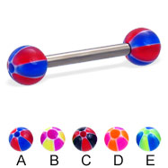 Titanium straight barbell with balloon balls, 12 ga