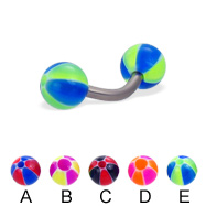 Titanium curved barbell with balloon balls, 14 ga