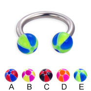 Horseshoe barbell with balloon balls, 12 ga