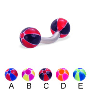 Curved barbell with balloon balls, 12 ga