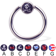 Captive bead ring with logo ball, 12 ga