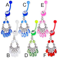 Chandelier bioplast belly button ring