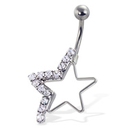 Half-jeweled hollow star navel ring