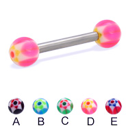 Straight barbell with acrylic star balls, 12 ga