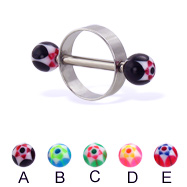 Nipple ring with acrylic star balls, 14 ga or 12 ga