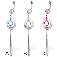 Belly button ring with jeweled round charm and two dangles