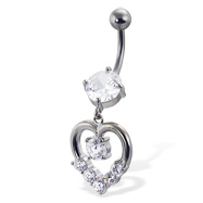 Belly button ring with round gem and dangling jeweled heart