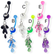 Bioplast belly button ring with teardrop gems on dangle