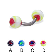 Eye ball titanium curved barbell, 14 ga