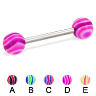 Wave ball straight barbell, 14 ga
