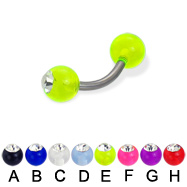 Single acrylic ball with stone titanium curved barbell, 14ga