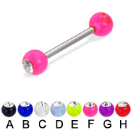 Acrylic ball with stone straight barbell, 14 ga
