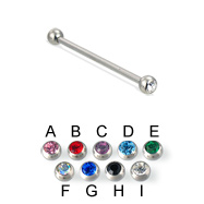 Long Barbell (Industrial Barbell) with Jeweled Balls, 12 Ga