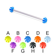 Long barbell (industrial barbell) with beach half balls, 14 ga