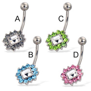 Jeweled flower belly button ring with square center stone