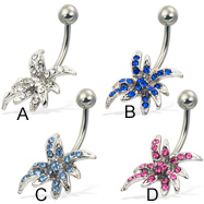 Jeweled belly button ring with exotic flower