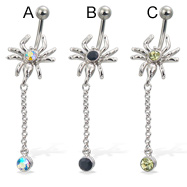 Spider belly button ring with dangling gem