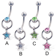 Door knocker belly button ring with dangling jeweled star