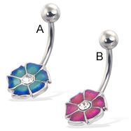 Colored 6-petal flower belly button ring with gem