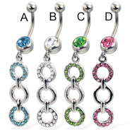 Belly button ring with three-ring jeweled dangle