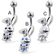 Belly button ring with jeweled bunny