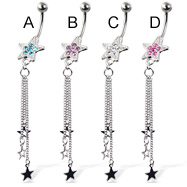 Belly button ring with jeweled star and three dangling stars