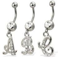 Cursive initial belly button ring