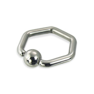Hexagon captive bead ring, 12 ga