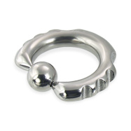 Fancy notched captive bead ring, 6 ga