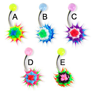 Belly button ring with silicone koosh ball, layer pattern