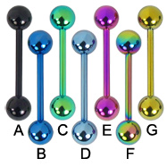 14 ga titanium anodized straight barbell