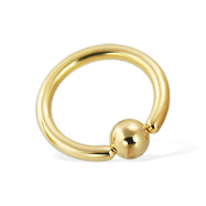 Gold Tone captive bead ring, 12 ga
