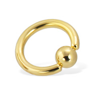 Gold Tone Captive Bead Ring, 10 Ga
