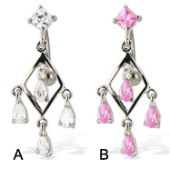 Belly button ring with square stone and dangling teardrops on a diamond-shaped frame