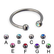 Jeweled ball titanium circular barbell, 16 ga