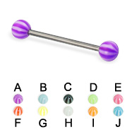 Beach Ball Titanium Straight Barbell, 16 Ga