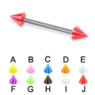 Beach cone titanium straight barbell, 16 ga