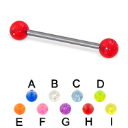 Glitter ball titanium straight barbell, 16 ga